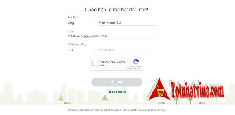 Đăng ký với tài khoản Vpbank