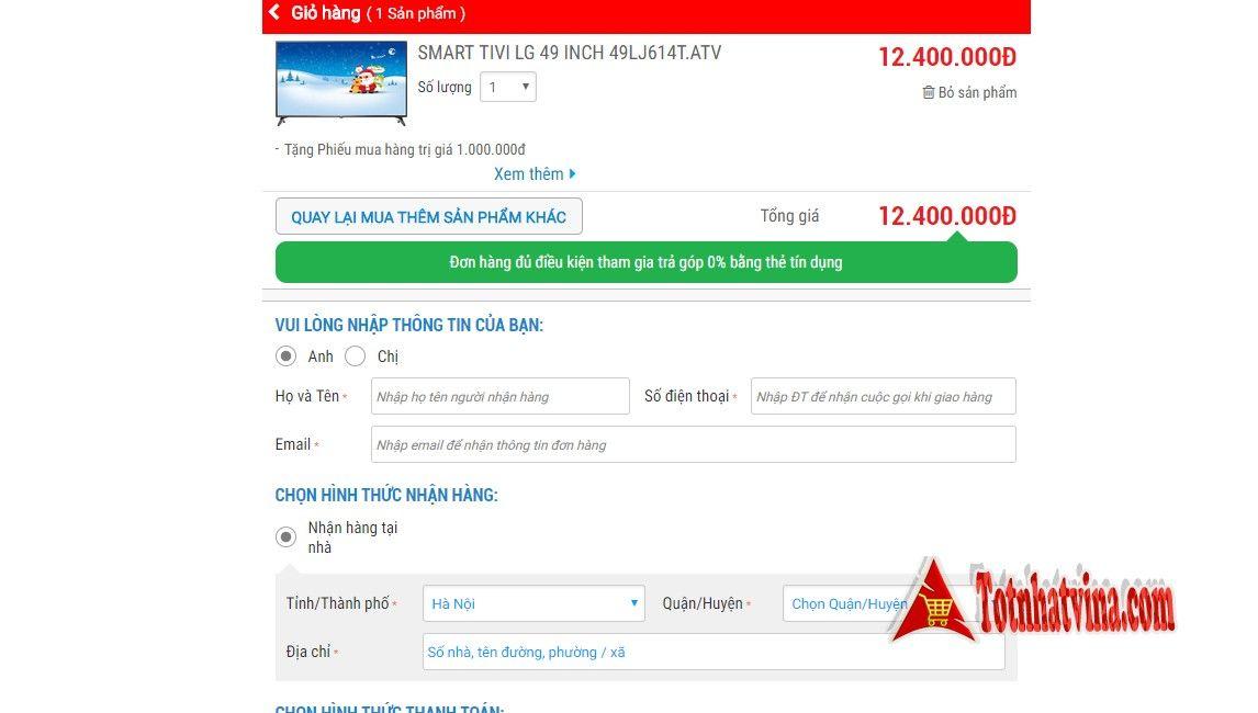 Điền thông tin mua hàng trả góp Nguyễn Kim