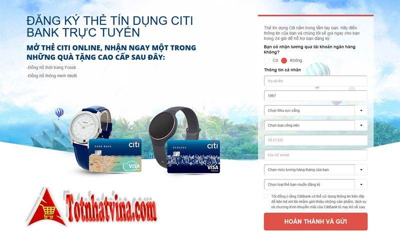 đăng kí mở thẻ tín dụng ngân hàng Citibank