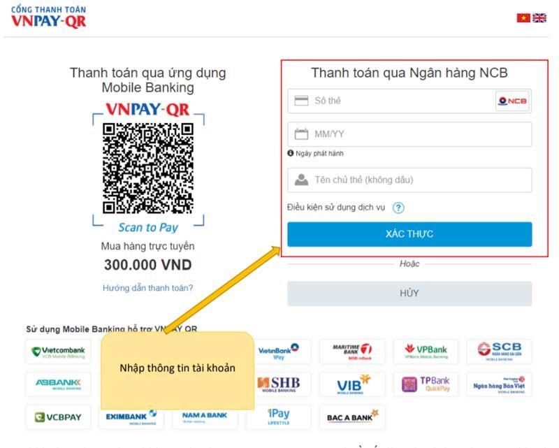 Nhập thông tin tài khoản: Số thẻ, Ngày phát hành, Tên chủ thẻ