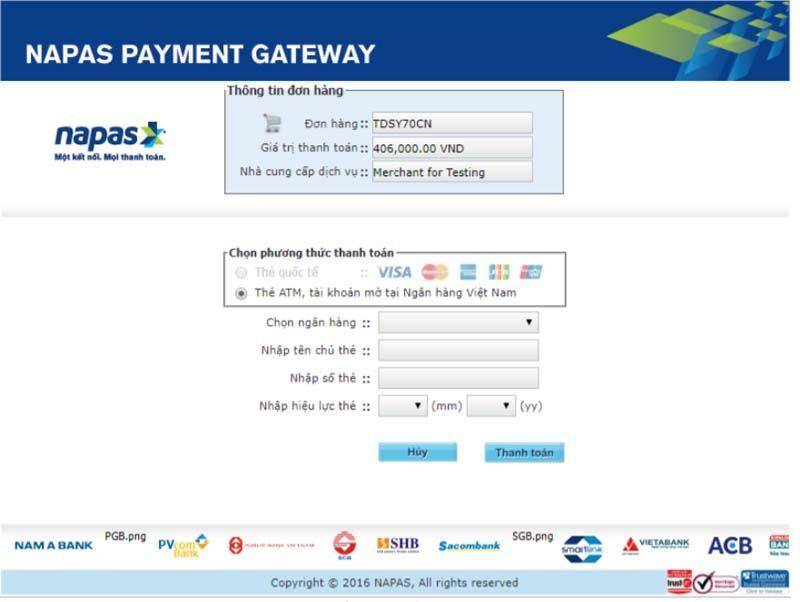 Trường hợp lựa chọn Hình thức thanh toán online thẻ nội địa