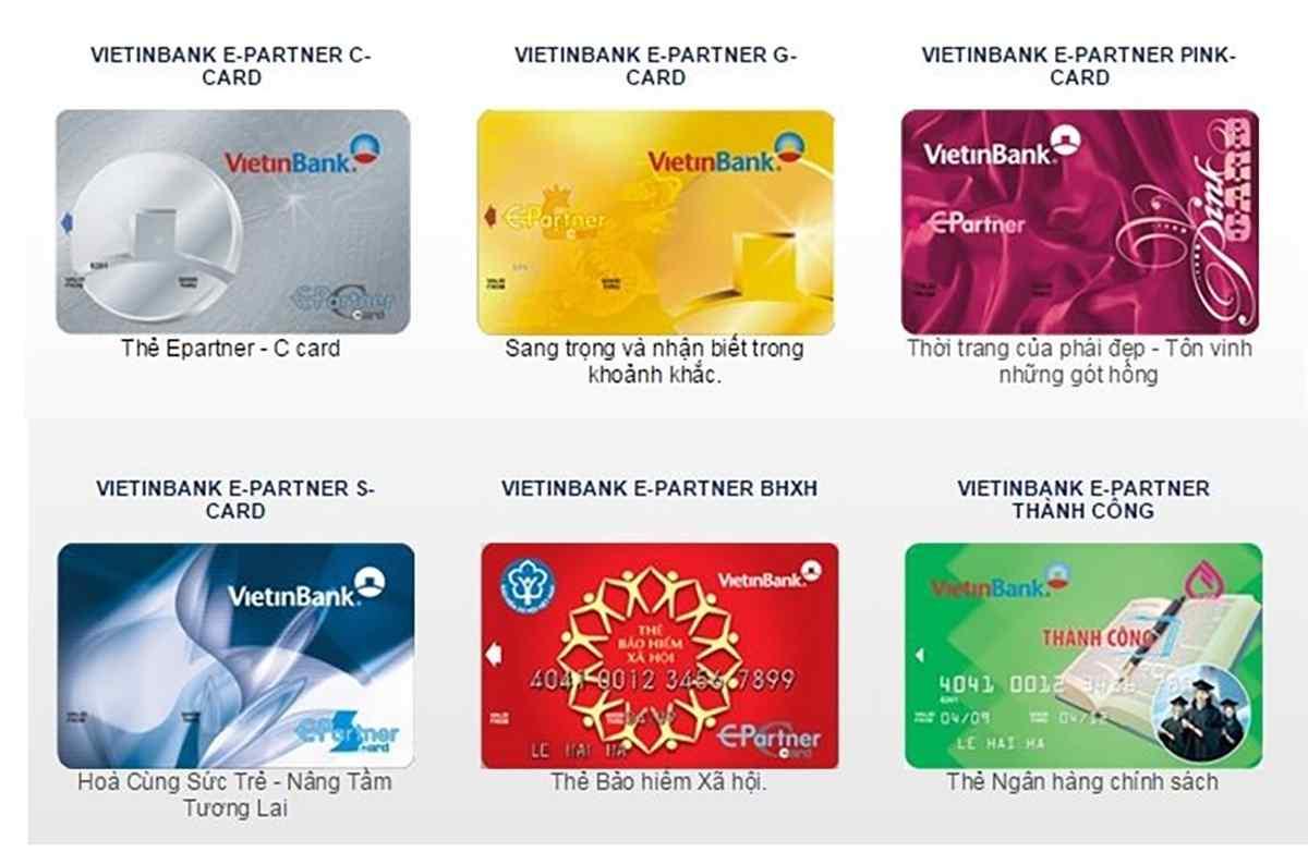 Ngân hàng Vietinbank phân loại thẻ cho từng đối tượng sử dụng