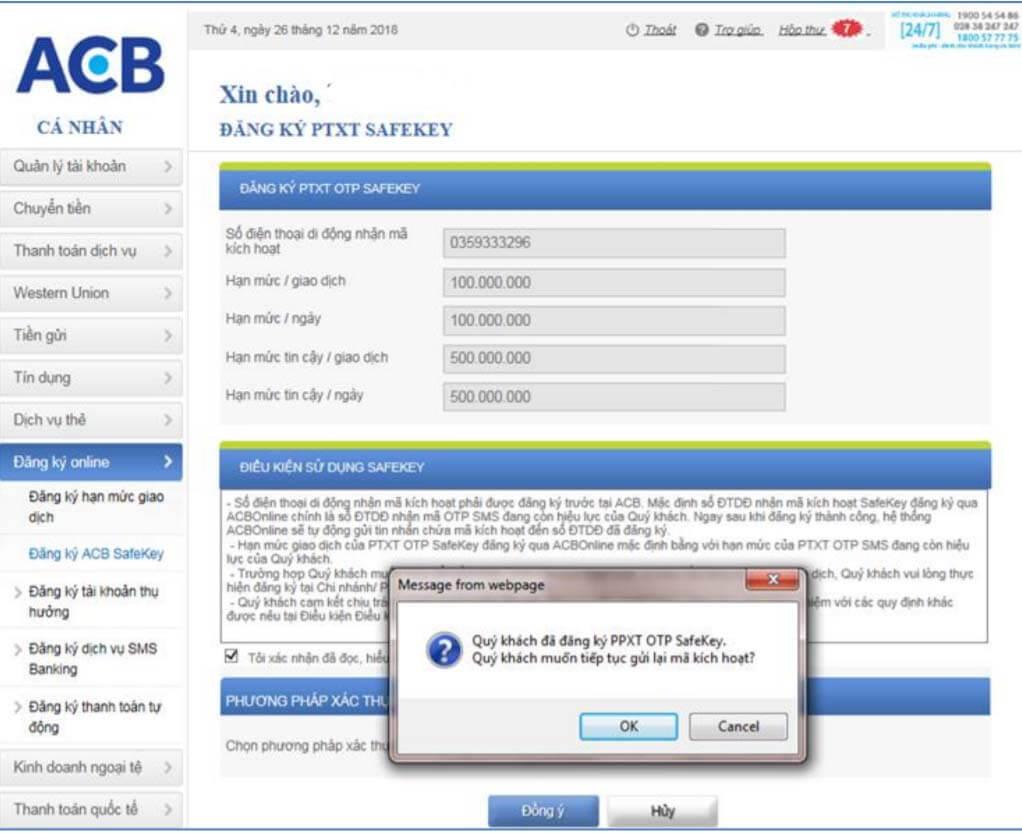 Trường hợp đã đăng ký PTXT OTP SafeKey – cần gửi lại mã kích hoạt