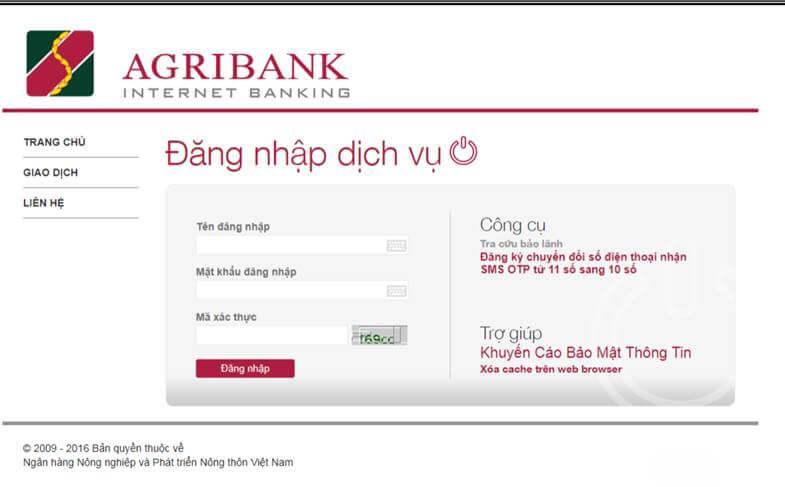 Đăng nhập và đăng xuất hệ thống Internet Banking của Agribank