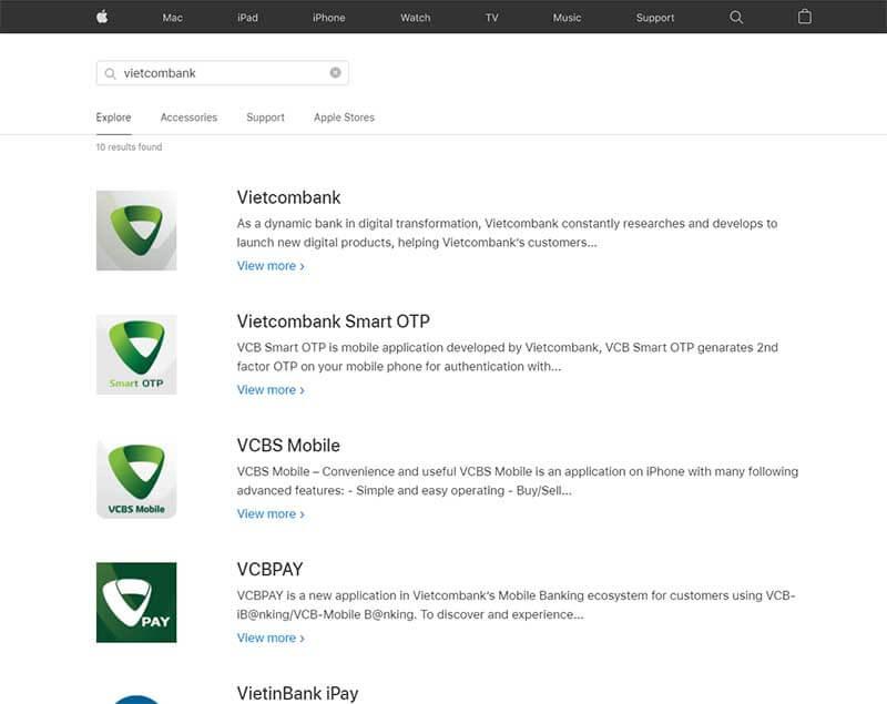 Tìm và tải ứng dụng Vietcombank trên các chợ ứng dụng