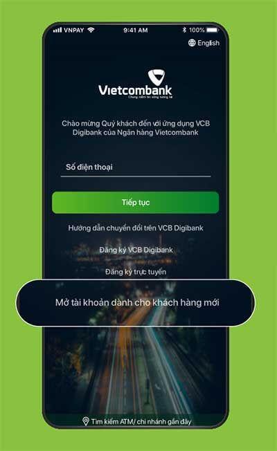 Mở ứng dụng và chọn Mở tài khoản dành cho khách hàng mới