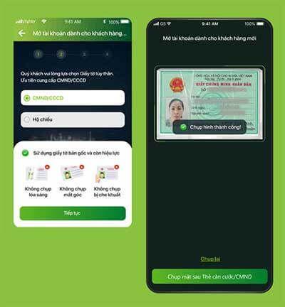 Lựa chọn loại giấy tờ (chứng minh thư/ căn cước/ hộ chiếu) và chụp ảnh giấy tờ theo hướng dẫn trên màn hình