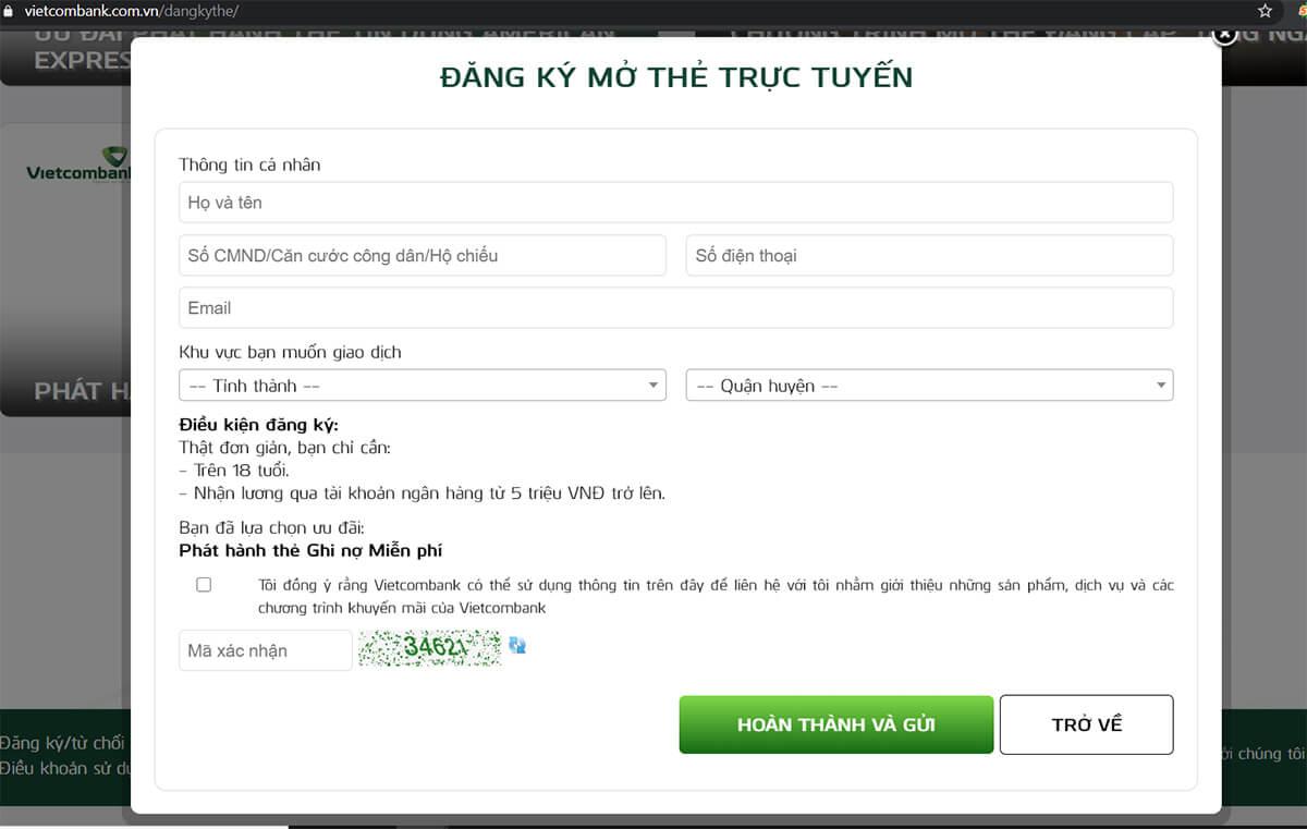 Làm thẻ atm Vietcombank online