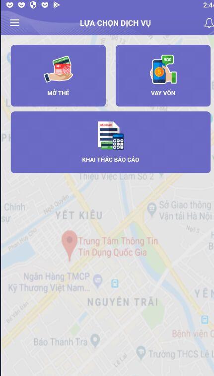 màn hình chính của app CIC