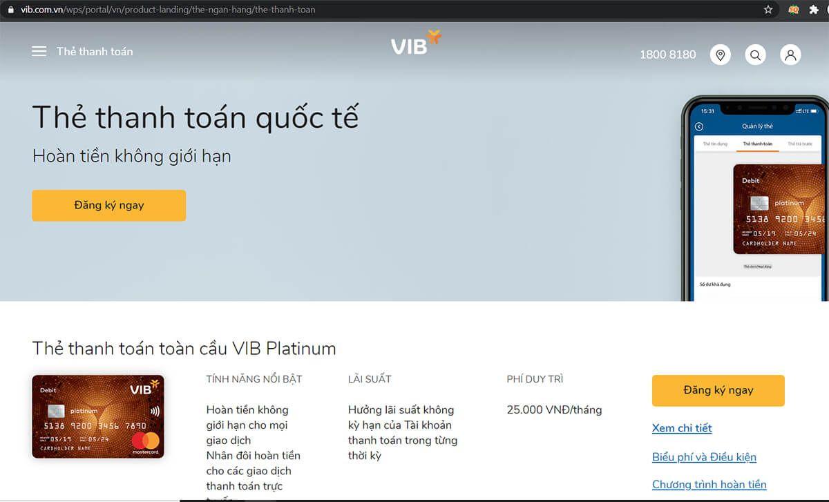 Đăng ký thẻ atm VIB online