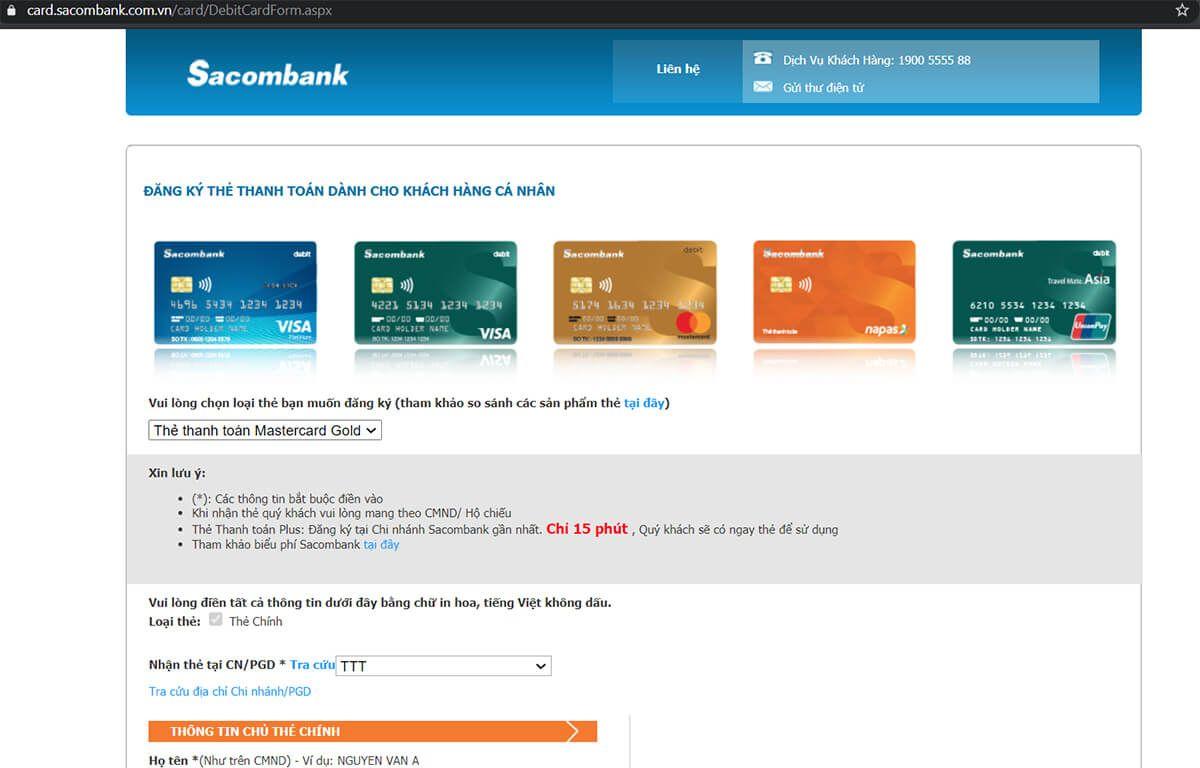Làm thẻ atm Sacombank online