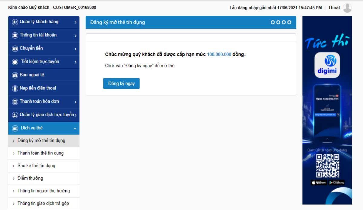 Đăng nhập vào digibank.vietcapitalbank.com.vn, có 2 cách để đăng ký mở thẻ tín dụng