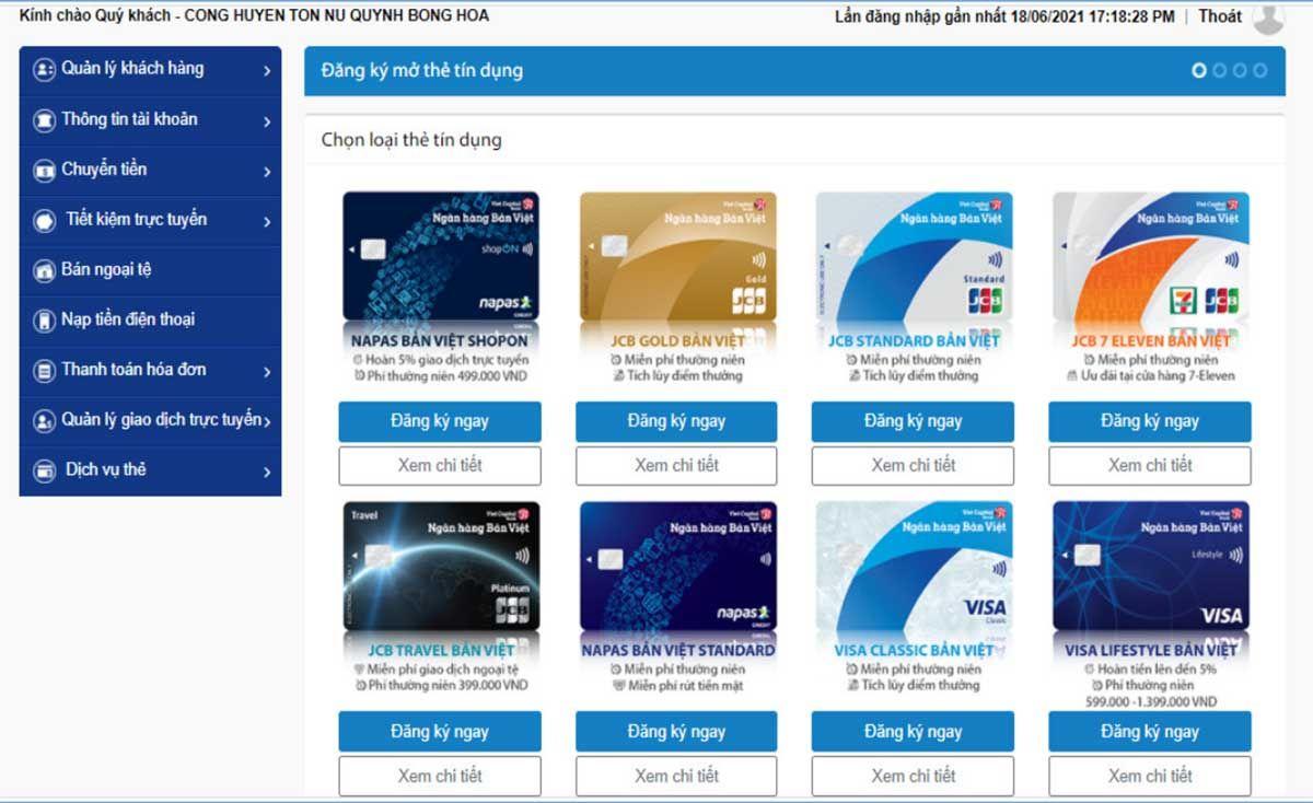 Chọn loại thẻ theo nhu cầu và thực hiện điền đầy đủ thông tin đăng ký