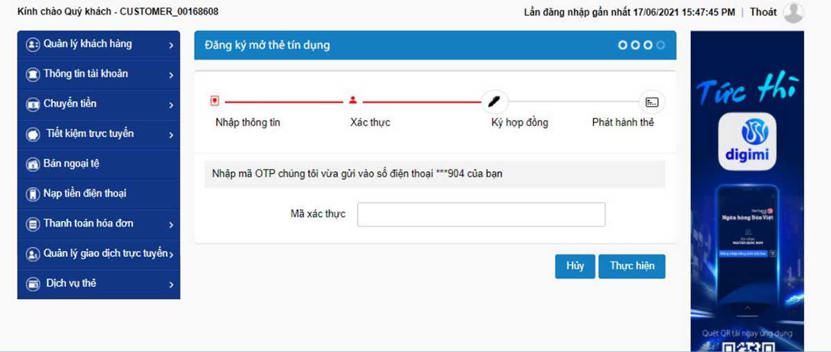Nhập mã xác thực OTP được gửi qua SMS/ sử dụng Smart OTP trên ứng dụng Mobile Banking của Ngân hàng Bản Việt.