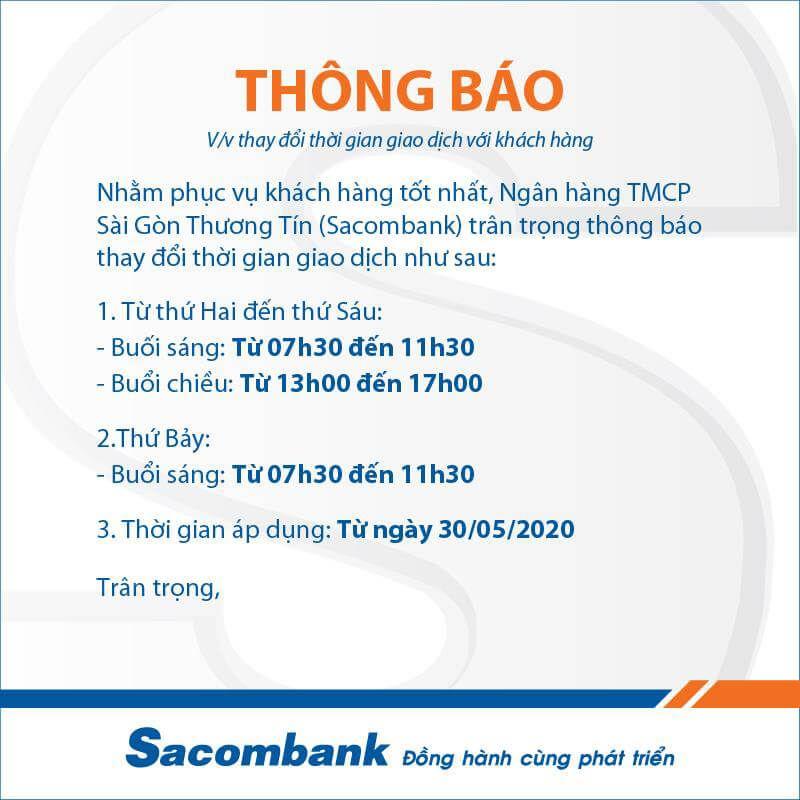 Ngân hàng Sacombank làm việc sáng thứ 7