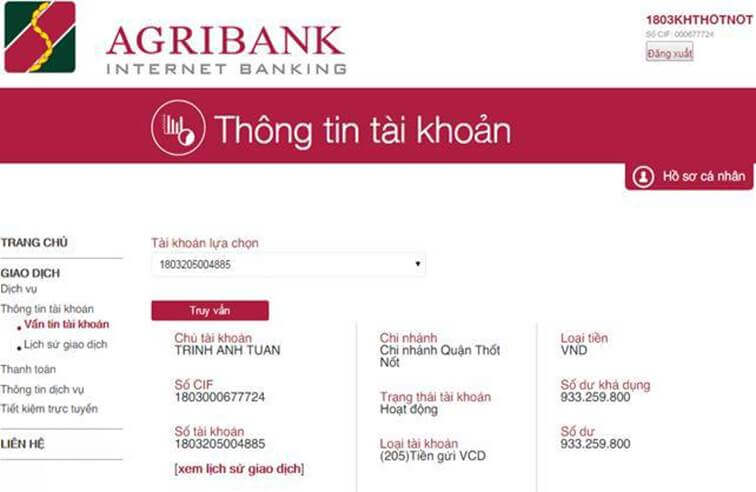 Thông tin tài khoản ngân hàng trực tuyến Internet banking Agribank
