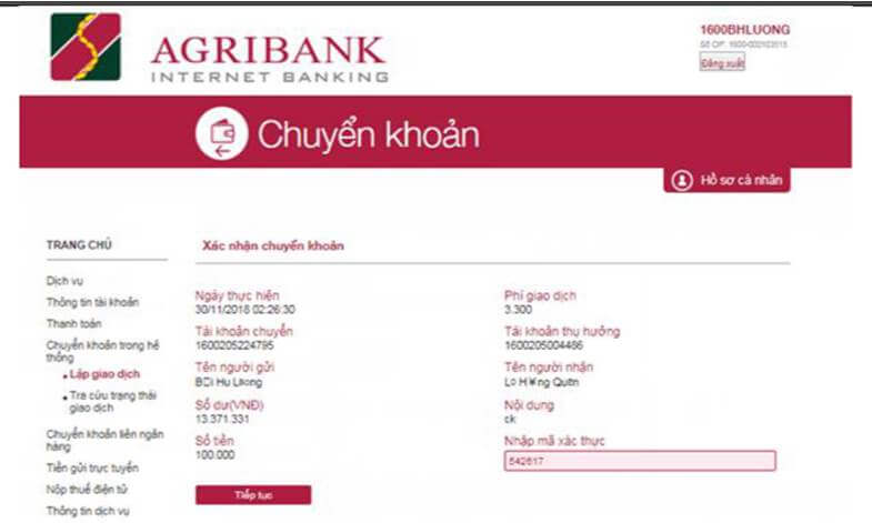 Chuyển khoản Internet banking Agribank