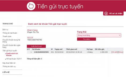 Tiền gửi trực tuyến